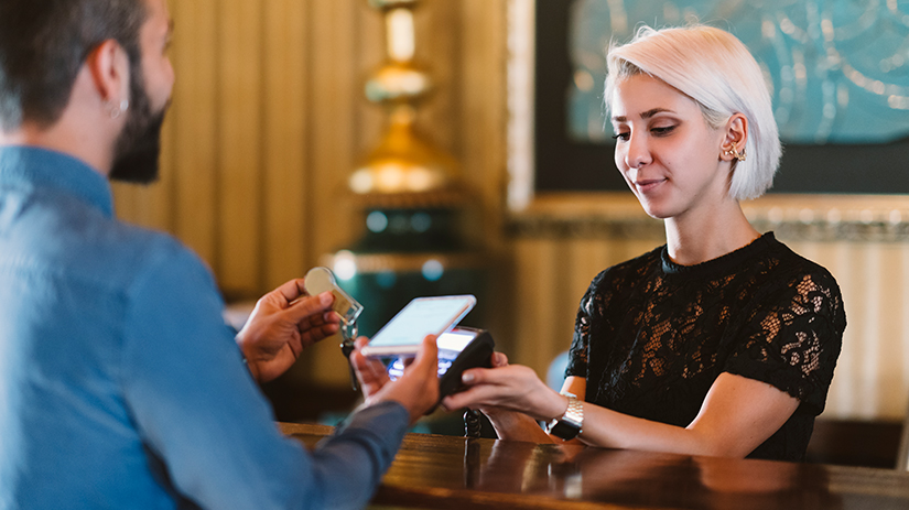 contactless payment at hotel reception