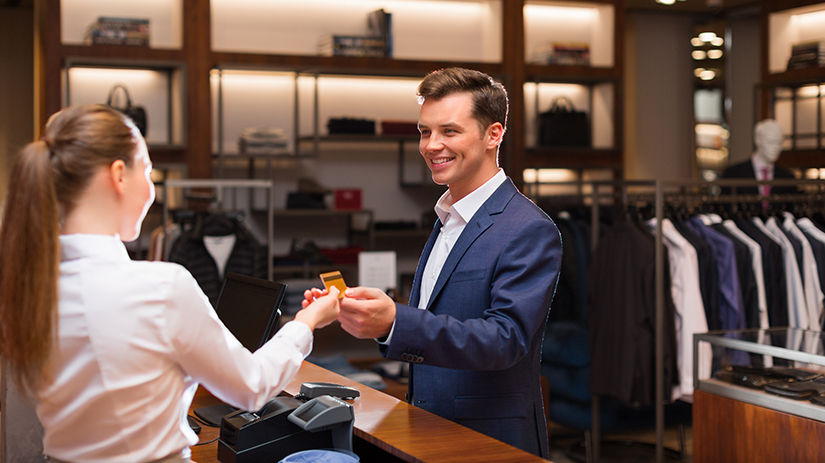 card payment in a clothing store